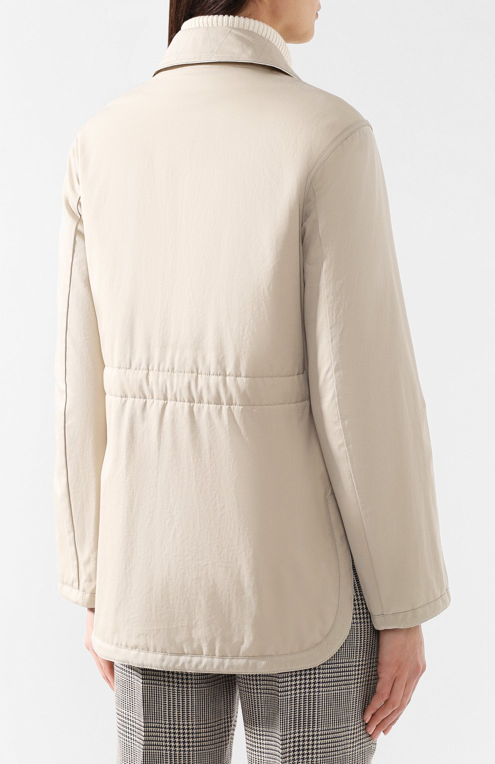 Хлопковая куртка Burberry бежевая | Фото №4