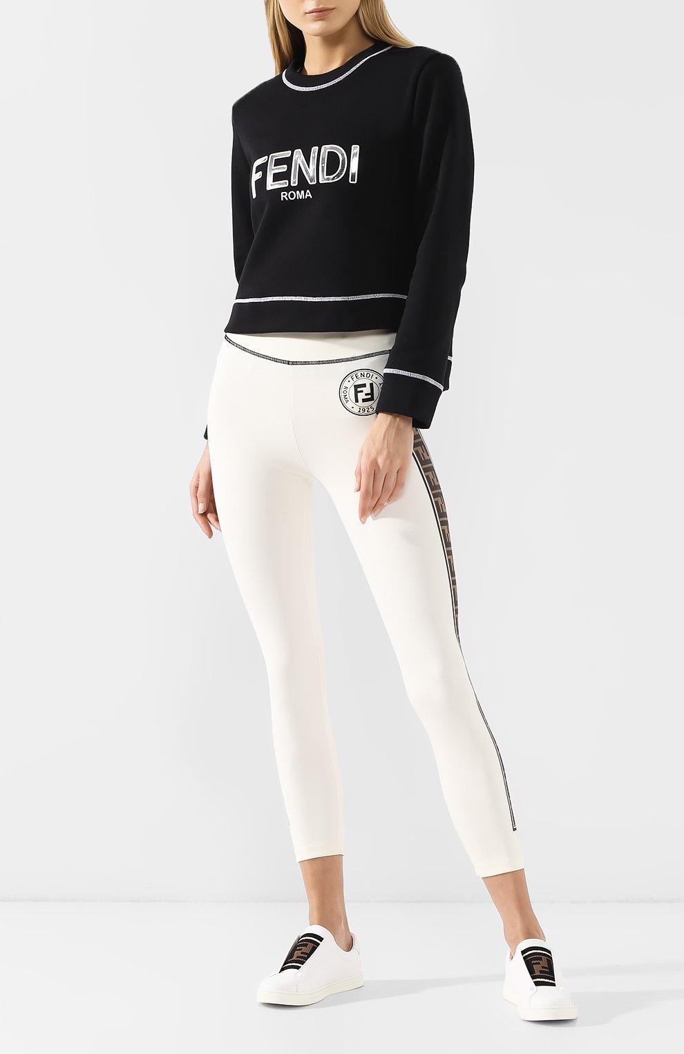 Хлопковый свитшот Fendi черный | Фото №2