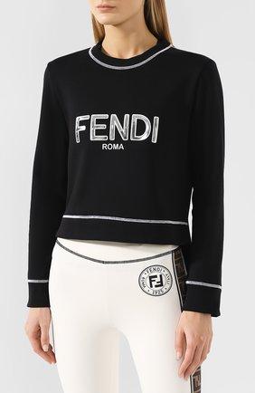 Хлопковый свитшот Fendi черный | Фото №3