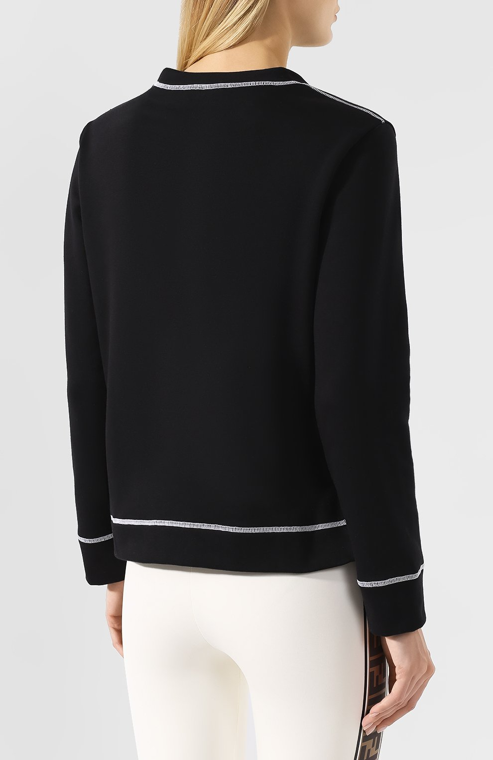 Хлопковый свитшот Fendi черный | Фото №4