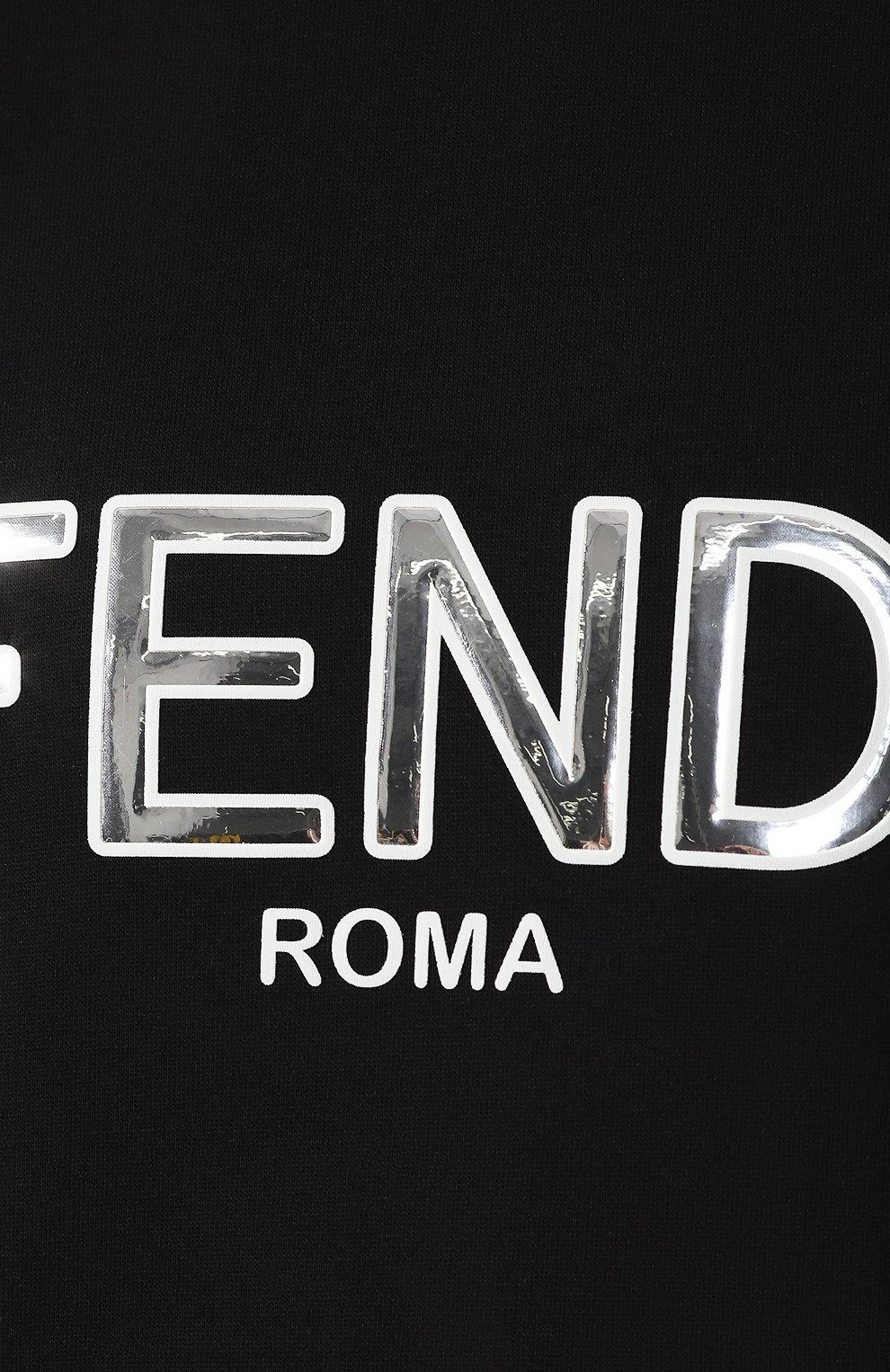 Хлопковый свитшот Fendi черный | Фото №5