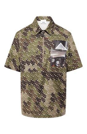 Хлопковая футболка Burberry хаки | Фото №1
