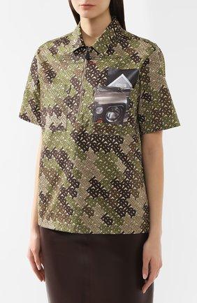 Хлопковая футболка Burberry хаки | Фото №3