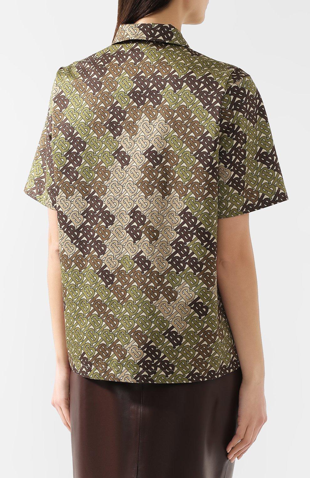Хлопковая футболка Burberry хаки | Фото №4