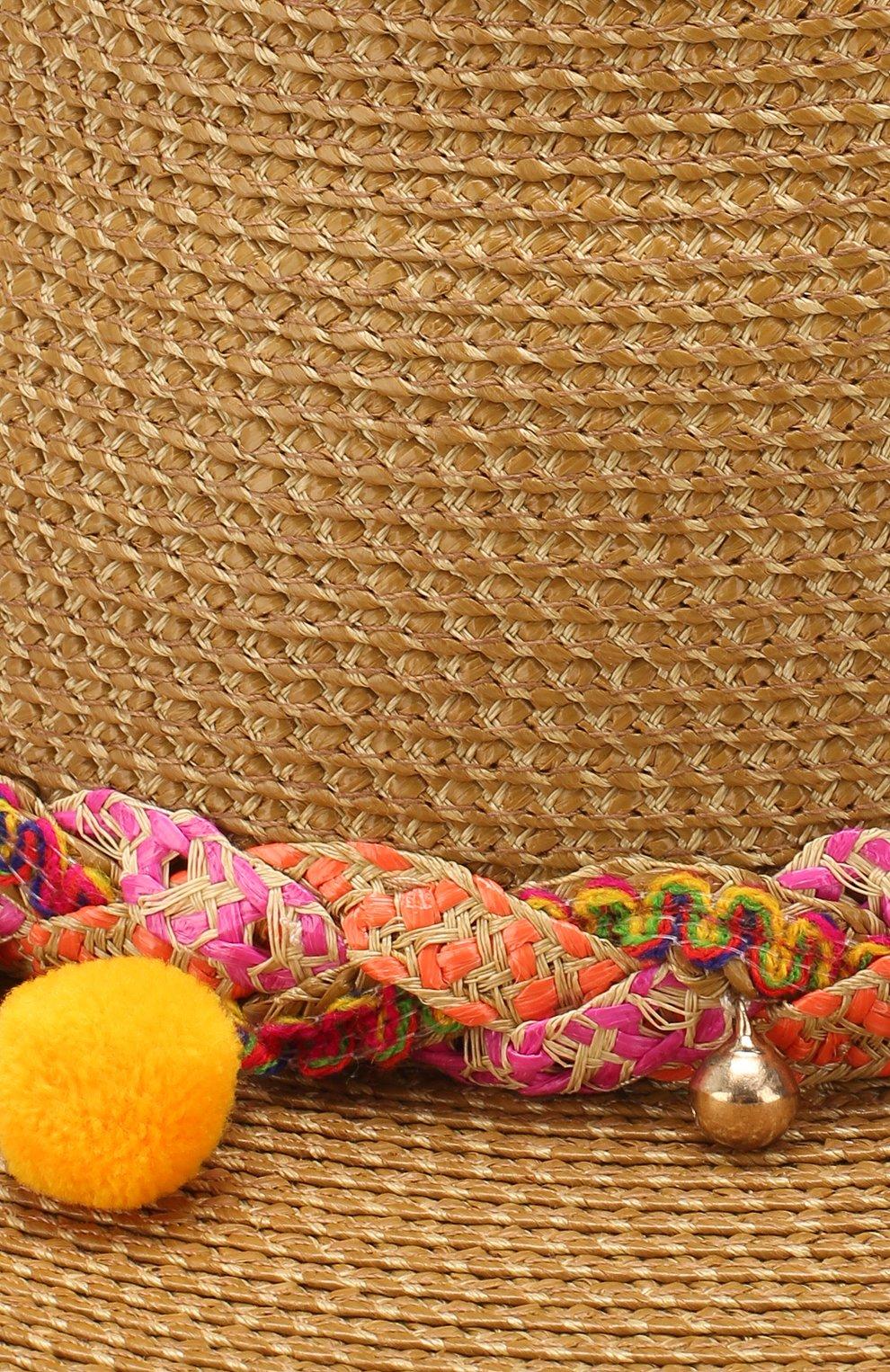 Шляпа с декоративной отделкой Eric Javits темно-бежевого цвета | Фото №3