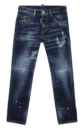 Детские джинсы прямого кроя DSQUARED2 синего цвета, арт. DQ039E-D00TB | Фото 1