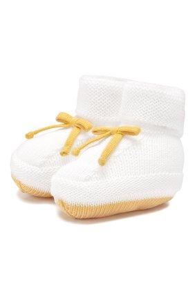 Детские хлопковые пинетки BABY T белого цвета, арт. 19PE143SA | Фото 1