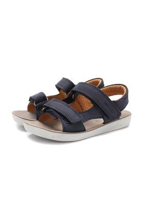 Кожаные сандалии с застежкой велькро   Фото №1