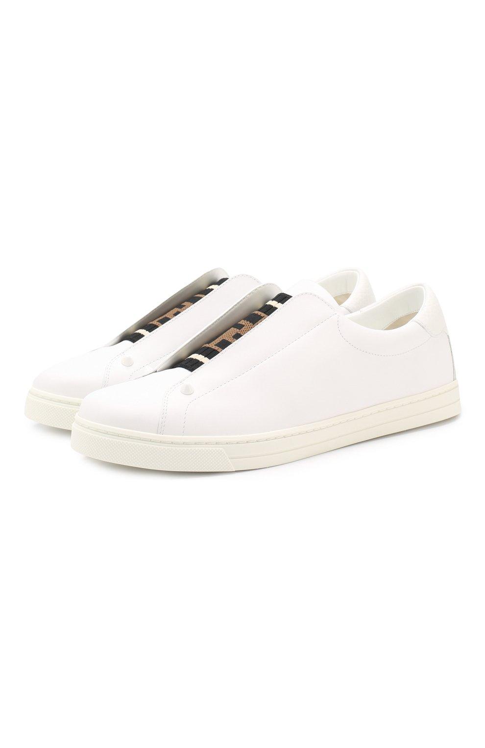 Кожаные кеды Fendi белые | Фото №1