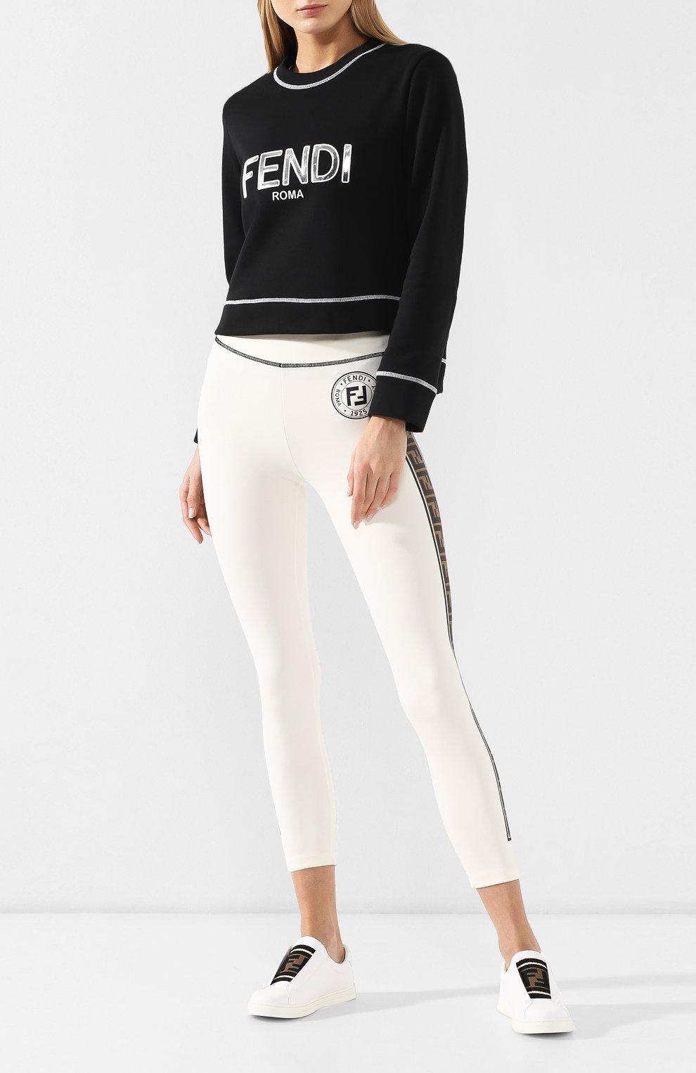 Кожаные кеды Fendi белые | Фото №2