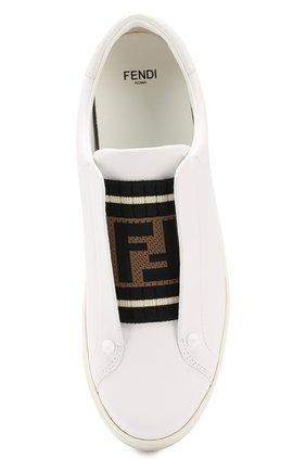 Кожаные кеды Fendi белые | Фото №5