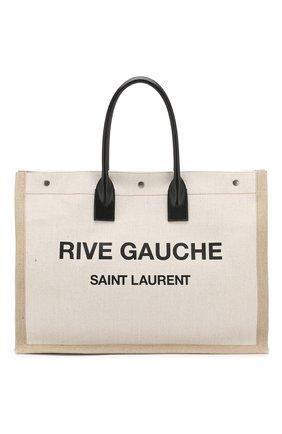 Сумка-тоут Noe large Saint Laurent черно-белая цвета | Фото №1