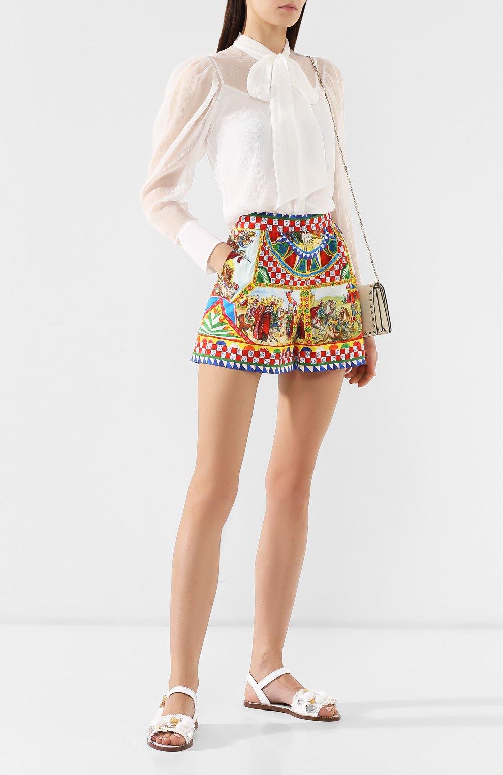 Плетеные сандалии Dolce & Gabbana белые | Фото №2