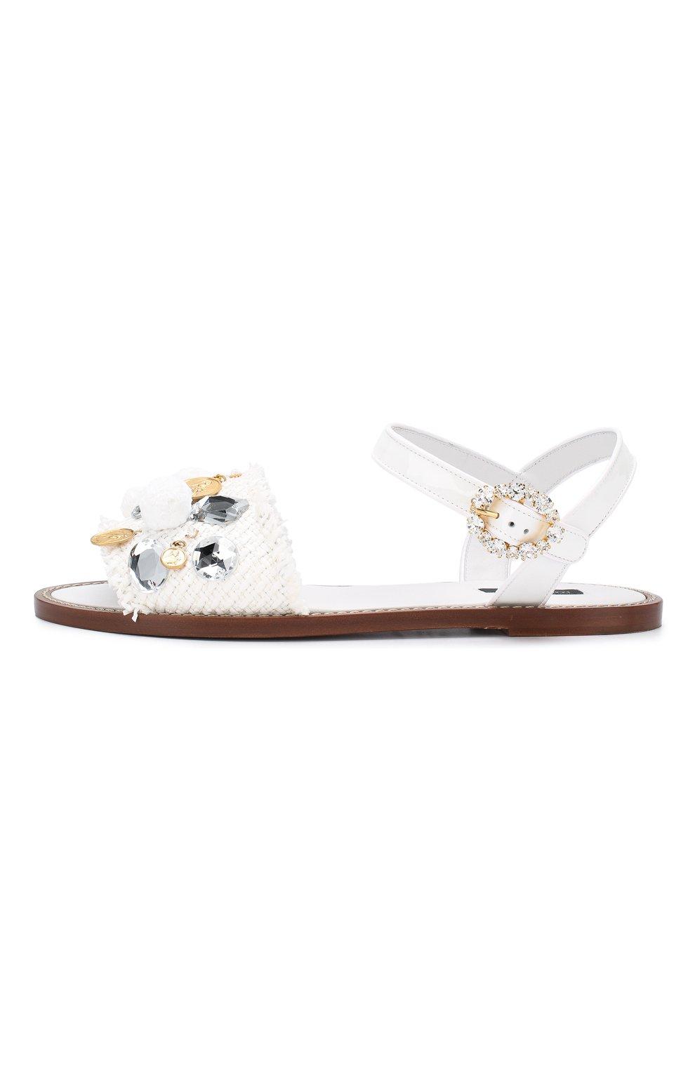 Плетеные сандалии Dolce & Gabbana белые | Фото №3