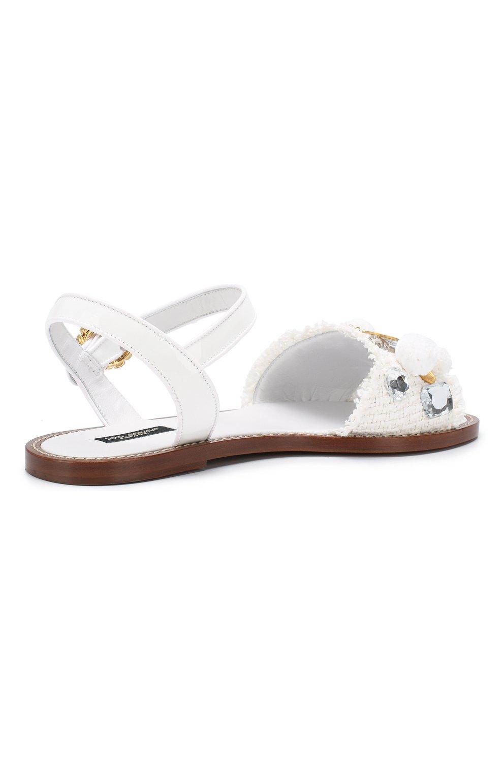 Плетеные сандалии Dolce & Gabbana белые | Фото №4