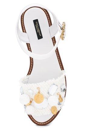 Плетеные сандалии Dolce & Gabbana белые | Фото №5
