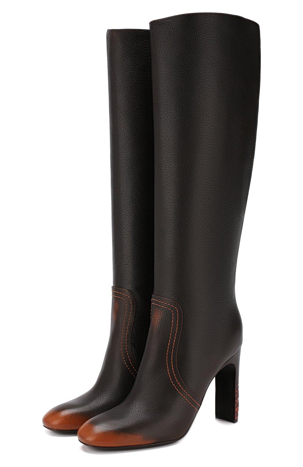 Кожаные сапоги Bottega Veneta темно-коричневые | Фото №1