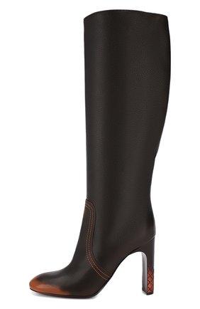 Кожаные сапоги Bottega Veneta темно-коричневые | Фото №3