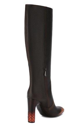Кожаные сапоги Bottega Veneta темно-коричневые | Фото №4