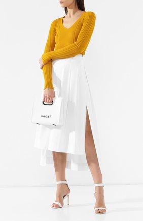 Женская кожаная сумка SACAI белого цвета, арт. S034-01 | Фото 2