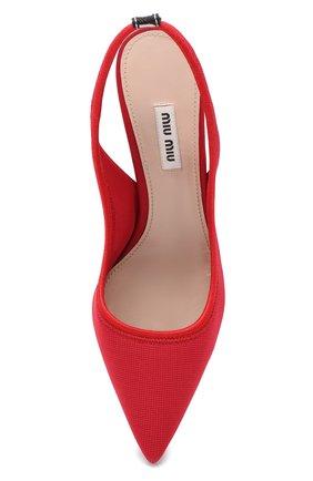 Текстильные туфли Miu Miu красные | Фото №5