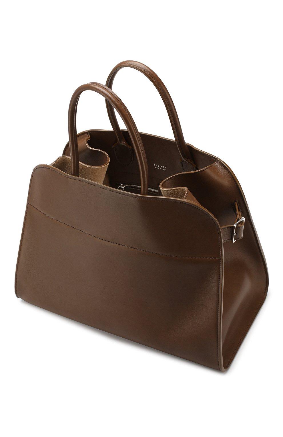 Кожаная сумка The Row хаки цвета | Фото №4