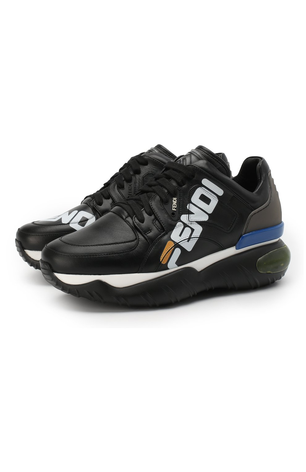 Кожаные кроссовки Fendi черные | Фото №1