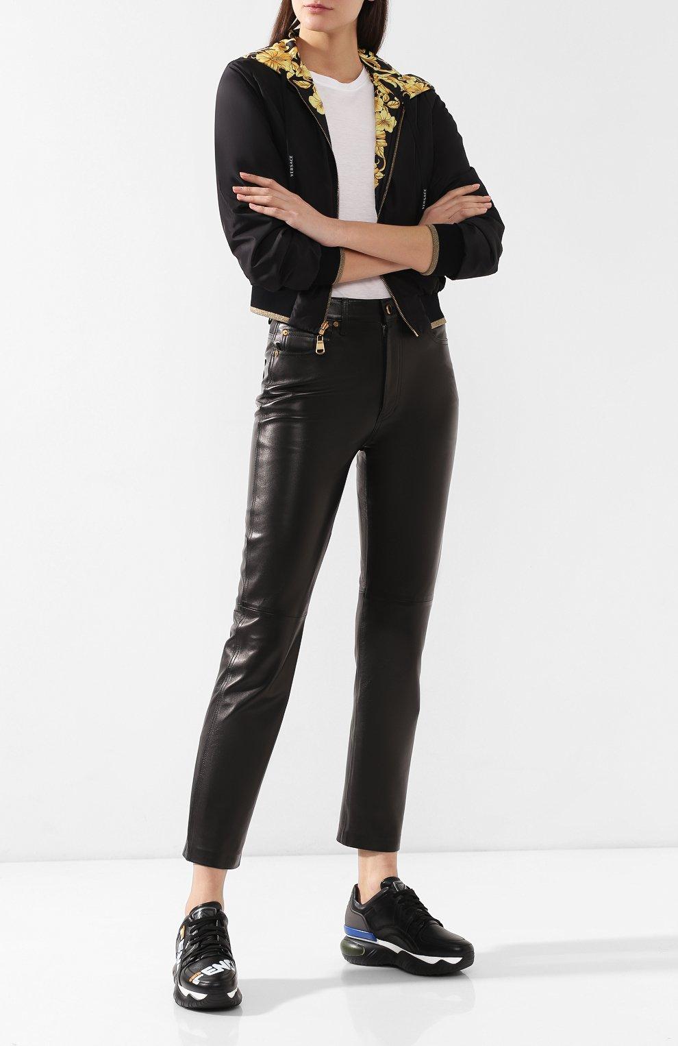 Кожаные кроссовки Fendi черные | Фото №2
