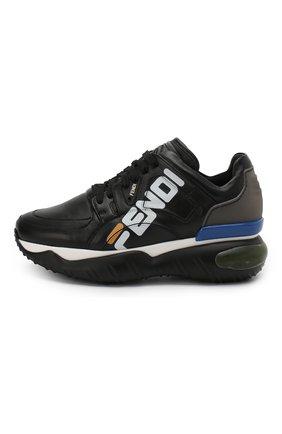 Кожаные кроссовки Fendi черные | Фото №3