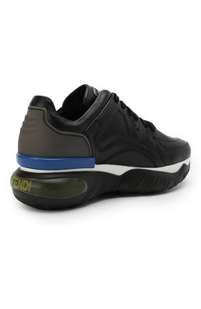 Кожаные кроссовки Fendi черные | Фото №4