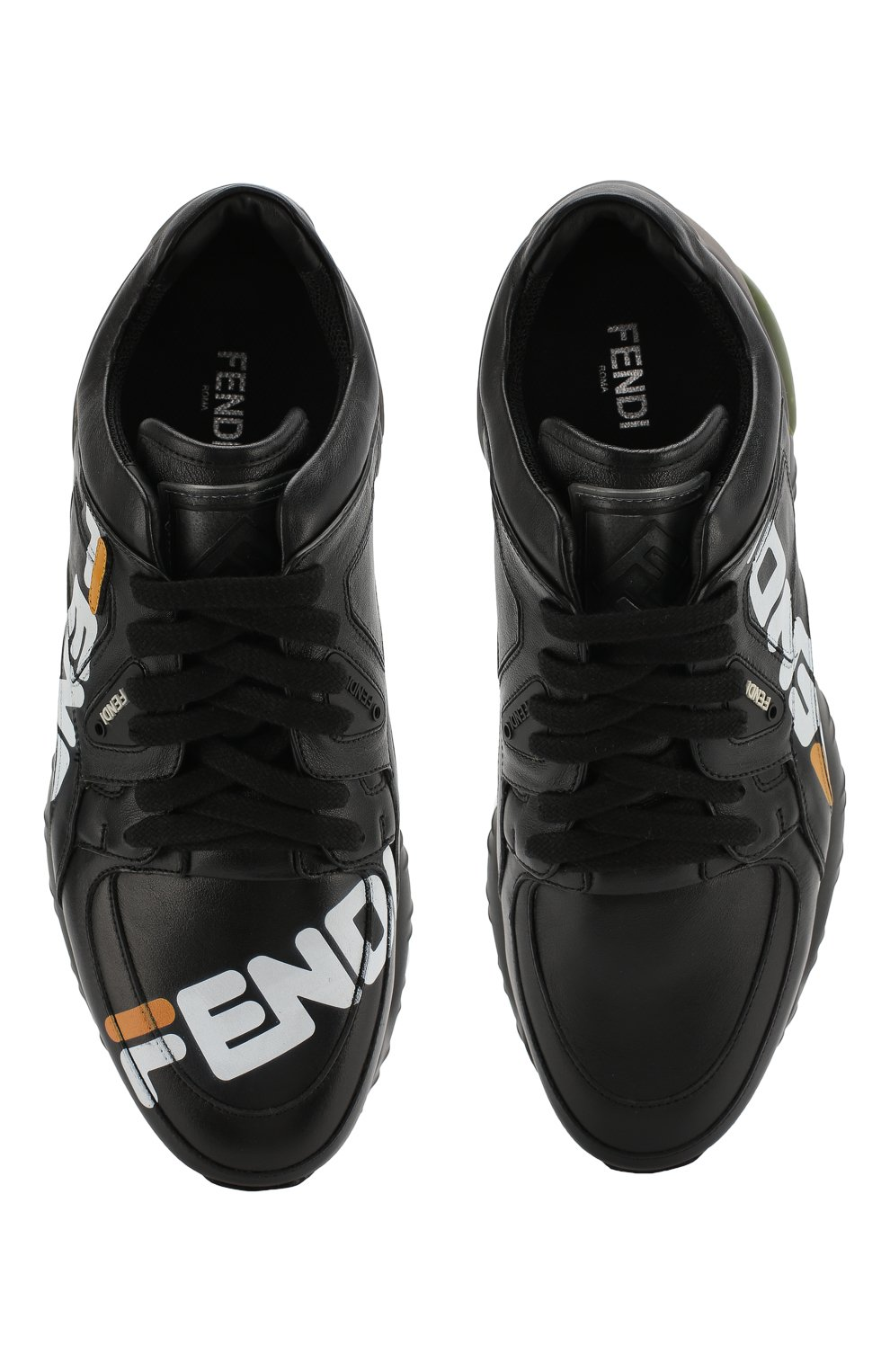 Кожаные кроссовки Fendi черные | Фото №5
