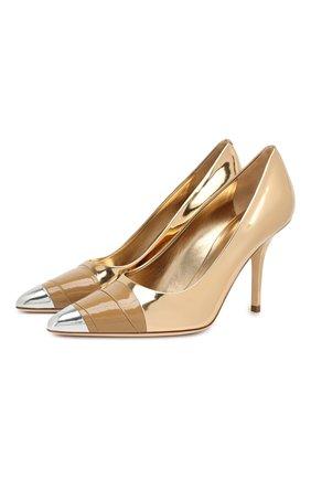 Кожаные туфли Burberry золотые | Фото №1