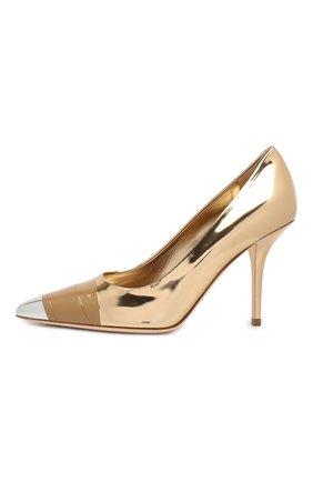 Кожаные туфли Burberry золотые | Фото №3