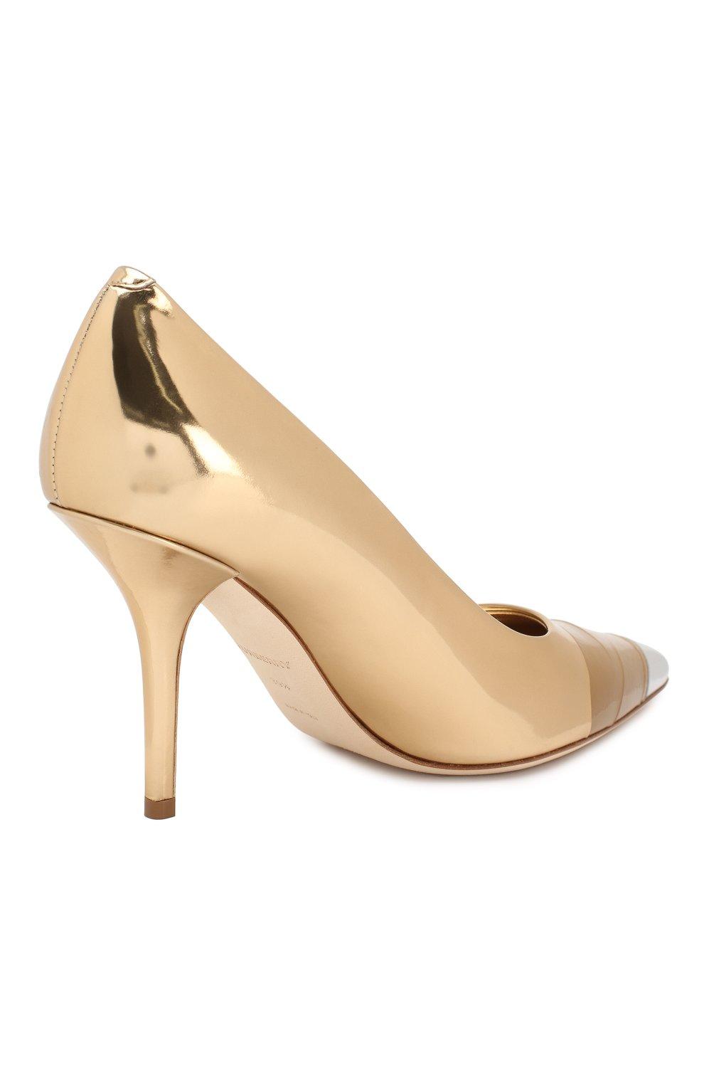 Кожаные туфли Burberry золотые | Фото №4