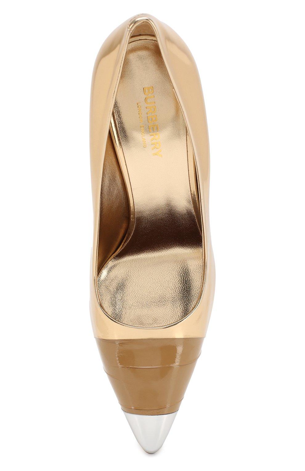 Кожаные туфли Burberry золотые | Фото №5