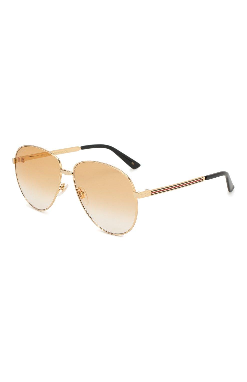 Женские солнцезащитные очки GUCCI золотого цвета, арт. GG0138 007   Фото 1