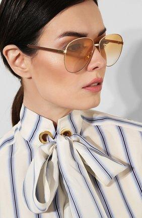 Женские солнцезащитные очки GUCCI золотого цвета, арт. GG0138 007   Фото 2