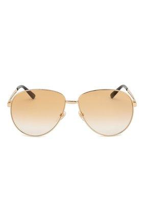 Женские солнцезащитные очки GUCCI золотого цвета, арт. GG0138 007   Фото 3