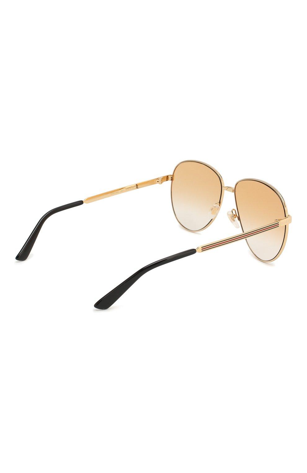 Женские солнцезащитные очки GUCCI золотого цвета, арт. GG0138 007   Фото 4