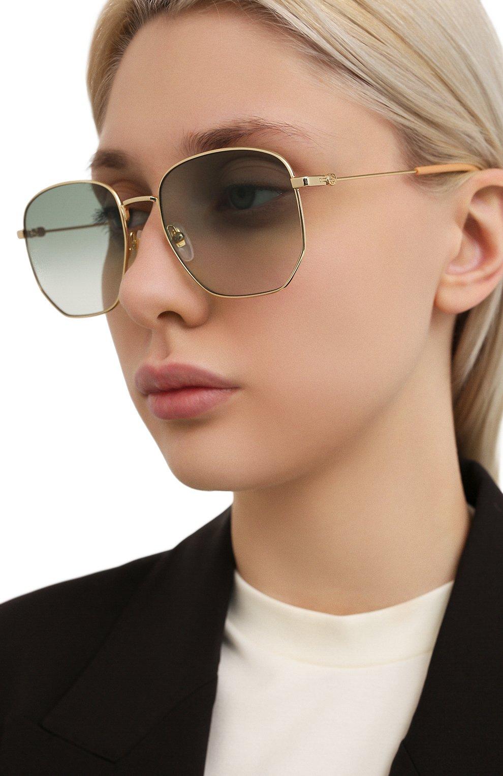 Женские солнцезащитные очки GUCCI зеленого цвета, арт. GG0396 002   Фото 2