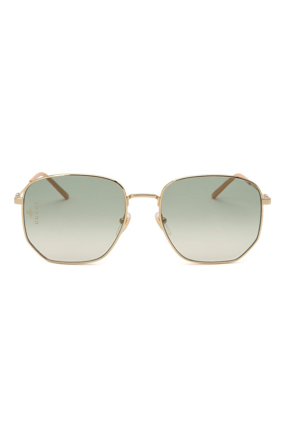 Женские солнцезащитные очки GUCCI зеленого цвета, арт. GG0396 002   Фото 4
