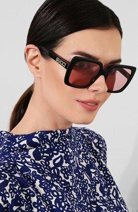 Женские солнцезащитные очки GUCCI черного цвета, арт. GG0418 002   Фото 2