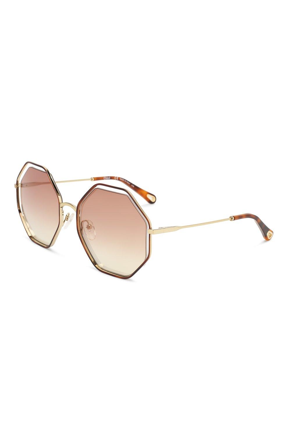 Женские солнцезащитные очки CHLOÉ светло-коричневого цвета, арт. 132S-205   Фото 1