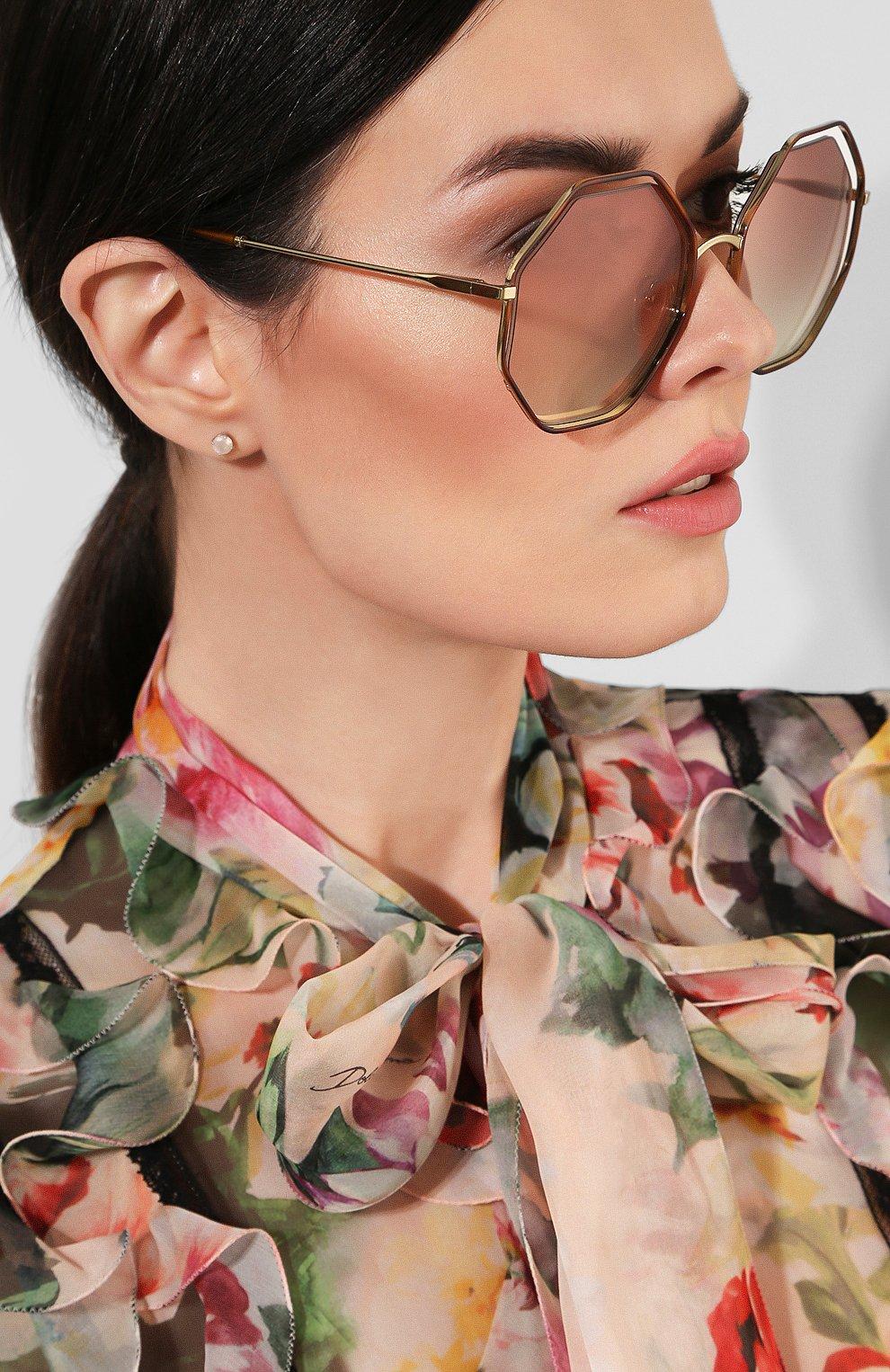Женские солнцезащитные очки CHLOÉ светло-коричневого цвета, арт. 132S-205   Фото 2