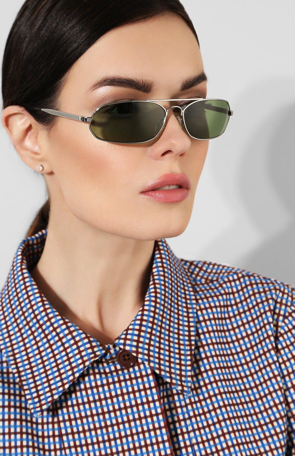 Солнцезащитные очки Balenciaga зеленые | Фото №2
