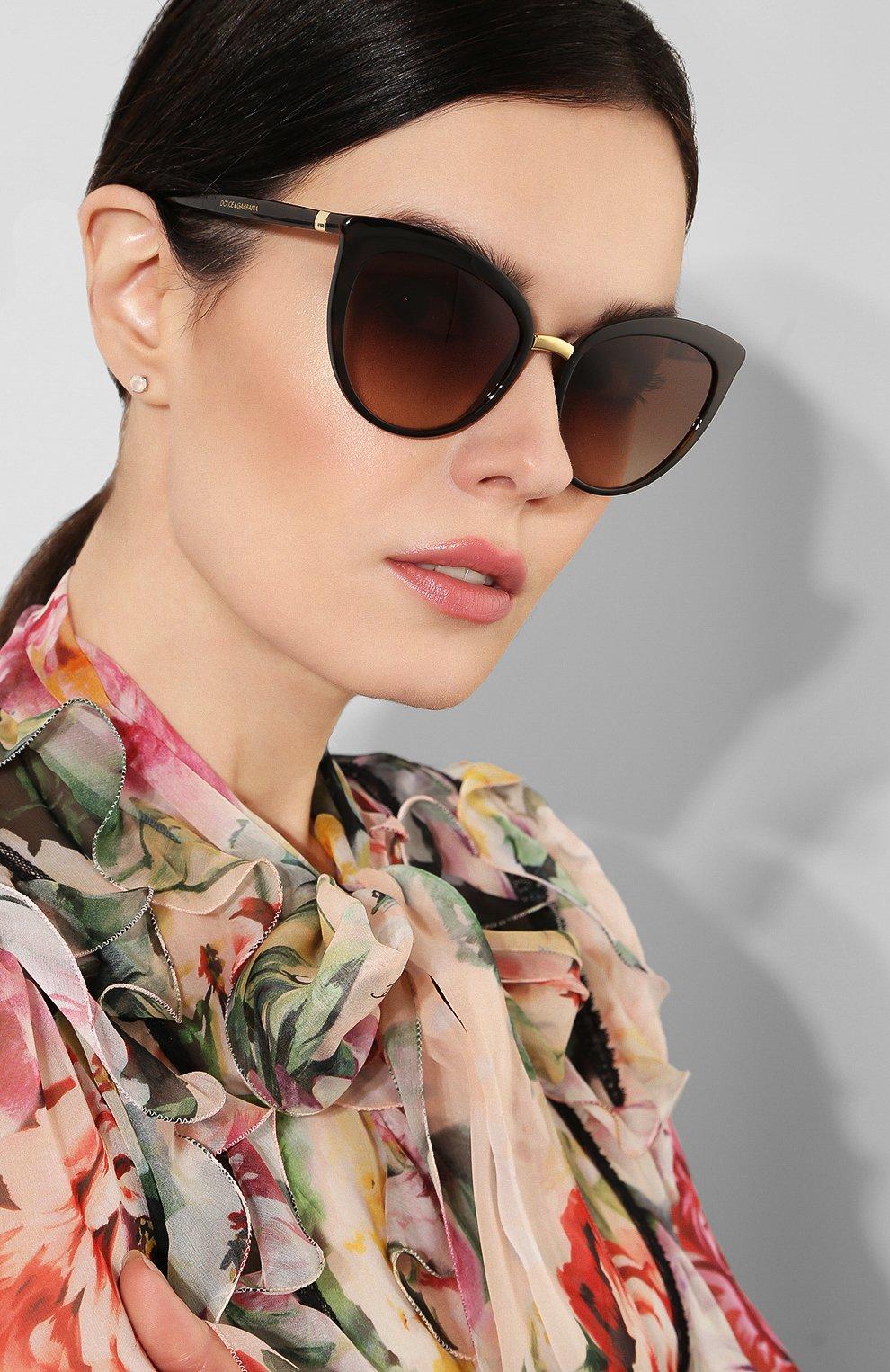 Женские солнцезащитные очки DOLCE & GABBANA коричневого цвета, арт. 6113-502/13 | Фото 2