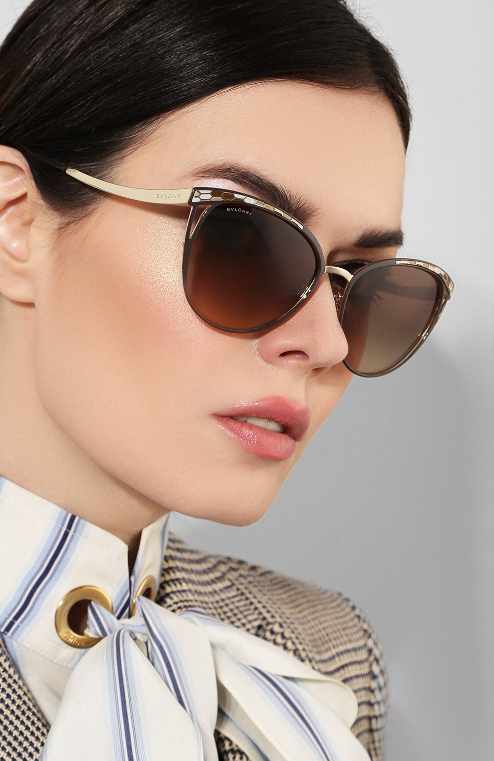 Солнцезащитные очки BVLGARI коричневые   Фото №2