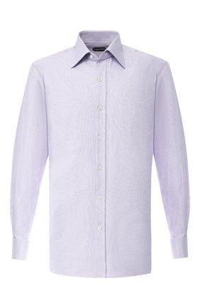 Мужская хлопковая сорочка с воротником кент TOM FORD сиреневого цвета, арт. 5FT250/94C2JE | Фото 1