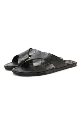 Мужские кожаные шлепанцы с тиснением DOUCAL'S черного цвета, арт. DU1934MALIUF073NN00 | Фото 1