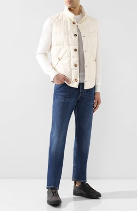Мужские кожаные кеды triple stitch ZEGNA COUTURE темно-серого цвета, арт. A2511X-MS0 | Фото 2